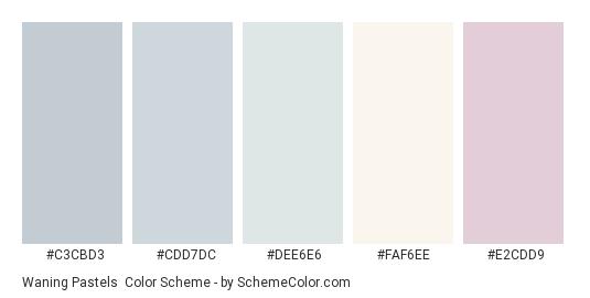 Waning Pastels - Color scheme palette thumbnail - #c3cbd3 #cdd7dc #dee6e6 #faf6ee #e2cdd9