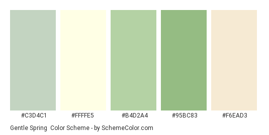 Gentle Spring - Color scheme palette thumbnail - #c3d4c1 #ffffe5 #b4d2a4 #95bc83 #f6ead3