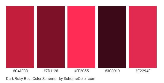 Dark Ruby Red - Color scheme palette thumbnail - #c41e3d #7d1128 #ff2c55 #3c0919 #e2294f
