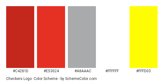 Checkers Logo - Color scheme palette thumbnail - #c4281d #e53024 #a8aaac #ffffff #fffd03