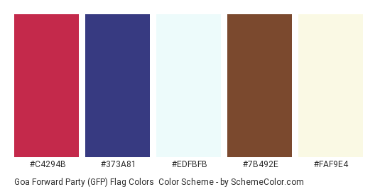 Goa Forward Party (GFP) Flag Colors - Color scheme palette thumbnail - #c4294b #373a81 #edfbfb #7b492e #faf9e4