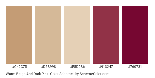 Warm Beige And Dark Pink Color Scheme Palette Thumbnail C49c75 D5b998