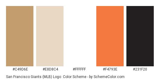 San Francisco Giants (MLB) Logo - Color scheme palette thumbnail - #c49d6e #e8d8c4 #ffffff #f4793e #231f20