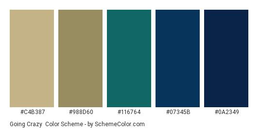 Going Crazy - Color scheme palette thumbnail - #c4b387 #988d60 #116764 #07345b #0A2349