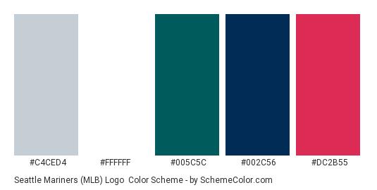 Seattle Mariners (MLB) Logo - Color scheme palette thumbnail - #c4ced4 #ffffff #005c5c #002c56 #dc2b55