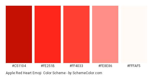 Apple Red Heart Emoji - Color scheme palette thumbnail - #c51104 #fe251b #ff4033 #fe8e86 #fffaf5