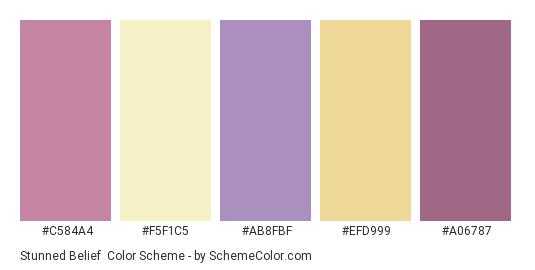 Stunned Belief - Color scheme palette thumbnail - #c584a4 #f5f1c5 #ab8fbf #efd999 #a06787