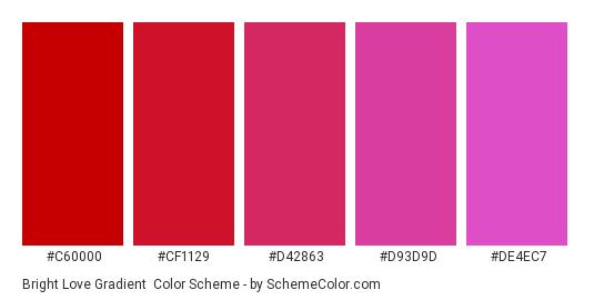 Bright Love Gradient - Color scheme palette thumbnail - #c60000 #cf1129 #d42863 #d93d9d #de4ec7