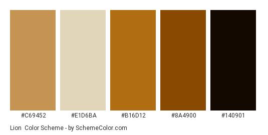 Lion - Color scheme palette thumbnail - #c69452 #e1d6ba #b16d12 #8a4900 #140901