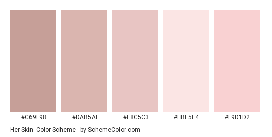 Her Skin - Color scheme palette thumbnail - #c69f98 #dab5af #e8c5c3 #fbe5e4 #f9d1d2