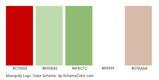 Monopoly Logo - Color scheme palette thumbnail - #c70000 #bfdbae #8fbc72 #ffffff #d7baaa