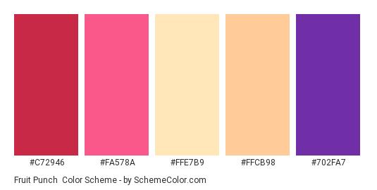Fruit Punch - Color scheme palette thumbnail - #c72946 #fa578a #ffe7b9 #ffcb98 #702fa7