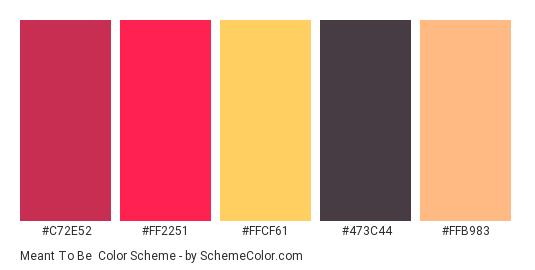 Meant To Be - Color scheme palette thumbnail - #c72e52 #ff2251 #ffcf61 #473c44 #ffb983