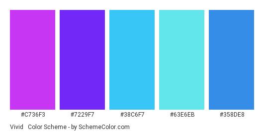 Vivid & Healthy - Color scheme palette thumbnail - #c736f3 #7229f7 #38c6f7 #63e6eb #358de8