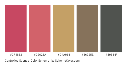 Controlled Spends - Color scheme palette thumbnail - #c74862 #d2626a #c4a066 #86725b #50534f