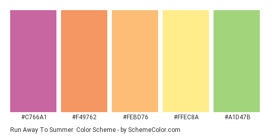 Run Away to Summer - Color scheme palette thumbnail - #c766a1 #f49762 #febd76 #ffec8a #a1d47b