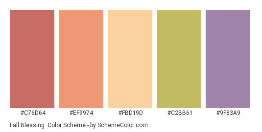 Fall Blessing - Color scheme palette thumbnail - #c76d64 #ef9974 #fbd19d #c2bb61 #9f83a9