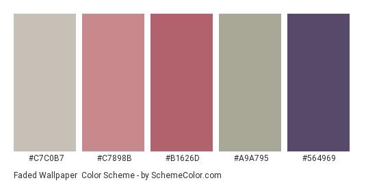 Faded Wallpaper - Color scheme palette thumbnail - #c7c0b7 #c7898b #b1626d #a9a795 #564969