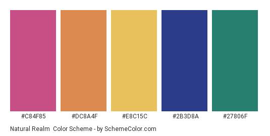 Natural Realm - Color scheme palette thumbnail - #c84f85 #dc8a4f #e8c15c #2b3d8a #27806f