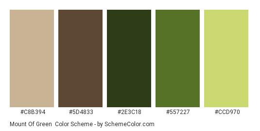 Mount of Green - Color scheme palette thumbnail - #c8b394 #5d4833 #2e3c18 #557227 #ccd970