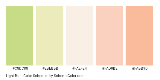 Light Bud - Color scheme palette thumbnail - #c8dc88 #ebebbb #faefe4 #fad0be #fabb9d