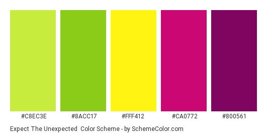 Expect the Unexpected - Color scheme palette thumbnail - #c8ec3e #8acc17 #fff412 #ca0772 #800561