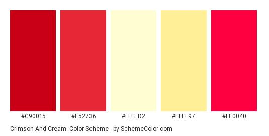 Crimson and Cream - Color scheme palette thumbnail - #c90015 #e52736 #fffed2 #ffef97 #fe0040