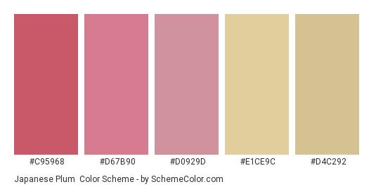 Japanese Plum - Color scheme palette thumbnail - #c95968 #d67b90 #d0929d #e1ce9c #d4c292
