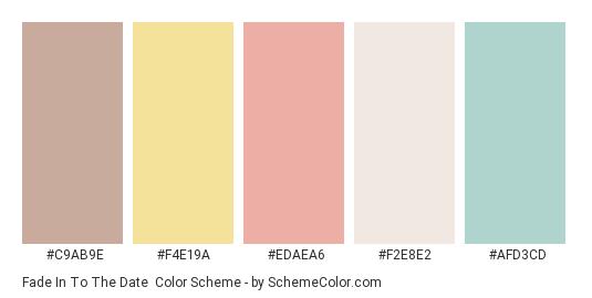 Fade in to the Date - Color scheme palette thumbnail - #c9ab9e #f4e19a #edaea6 #f2e8e2 #afd3cd