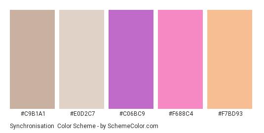 Synchronisation - Color scheme palette thumbnail - #c9b1a1 #e0d2c7 #c06bc9 #f688c4 #f7bd93