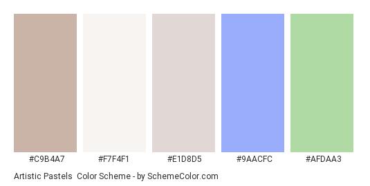 Artistic Pastels - Color scheme palette thumbnail - #c9b4a7 #f7f4f1 #e1d8d5 #9aacfc #afdaa3