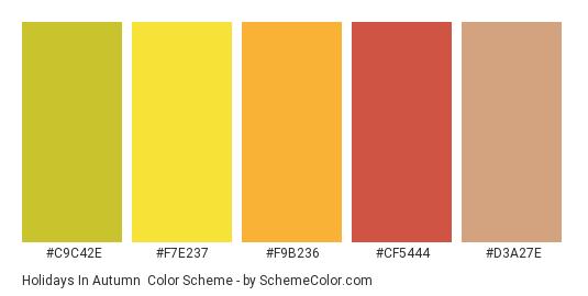 Holidays in Autumn - Color scheme palette thumbnail - #c9c42e #f7e237 #f9b236 #cf5444 #d3a27e