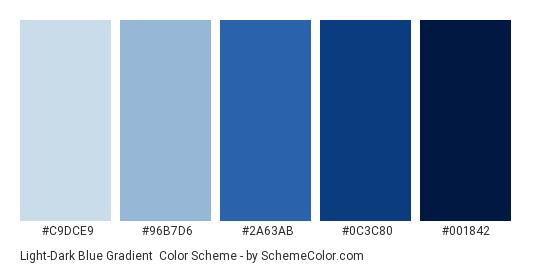 Light-Dark Blue Gradient - Color scheme palette thumbnail - #c9dce9 #96b7d6 #2a63ab #0c3c80 #001842