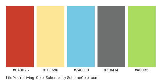 Life You're Living - Color scheme palette thumbnail - #ca3d2b #fde696 #74c8e3 #6d6f6e #a8db5f