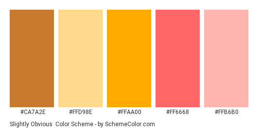 Slightly Obvious - Color scheme palette thumbnail - #ca7a2e #ffd98e #ffaa00 #ff6668 #ffb6b0