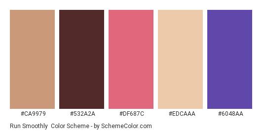 Run Smoothly - Color scheme palette thumbnail - #ca9979 #532a2a #df687c #edcaaa #6048aa