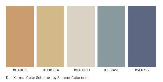 Dull Karma - Color scheme palette thumbnail - #ca9c6e #d3b98a #dad3c3 #889a9e #5e6782