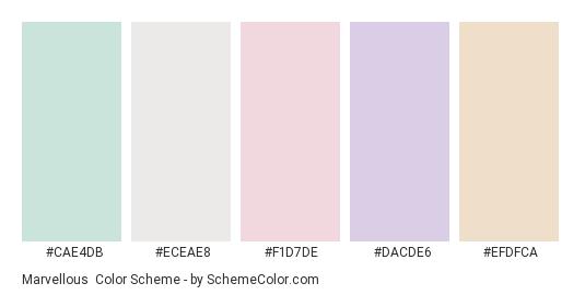 Marvellous - Color scheme palette thumbnail - #cae4db #eceae8 #f1d7de #dacde6 #efdfca
