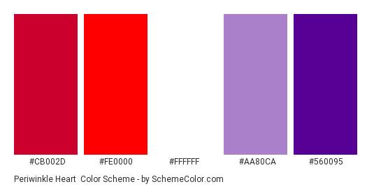 Periwinkle Heart - Color scheme palette thumbnail - #cb002d #fe0000 #ffffff #aa80ca #560095