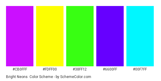 Bright Neons - Color scheme palette thumbnail - #cb0fff #fdff00 #38ff12 #6600ff #00f7ff