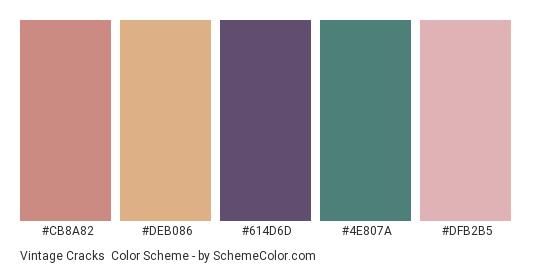 Vintage Cracks - Color scheme palette thumbnail - #cb8a82 #deb086 #614d6d #4e807a #dfb2b5
