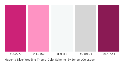 Magenta Silver Wedding Theme Color Scheme Gray Schemecolor