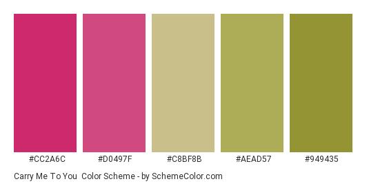 Carry Me to You - Color scheme palette thumbnail - #cc2a6c #d0497f #c8bf8b #aead57 #949435