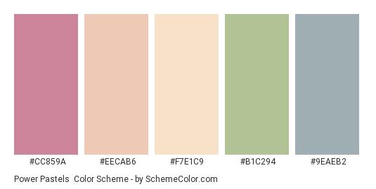 Power Pastels - Color scheme palette thumbnail - #cc859a #eecab6 #f7e1c9 #b1c294 #9eaeb2
