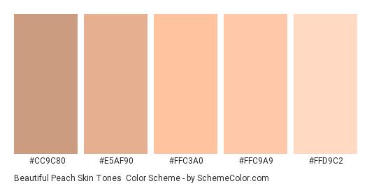 Beautiful Peach Skin Tones - Color scheme palette thumbnail - #cc9c80 #e5af90 #ffc3a0 #ffc9a9 #FFD9C2