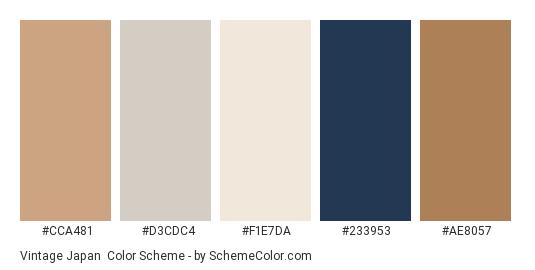 Vintage Japan - Color scheme palette thumbnail - #cca481 #d3cdc4 #f1e7da #233953 #ae8057
