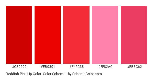 Reddish Pink Lip Color Scheme Palette Thumbnail Ce0200 Eb0301 F42c38