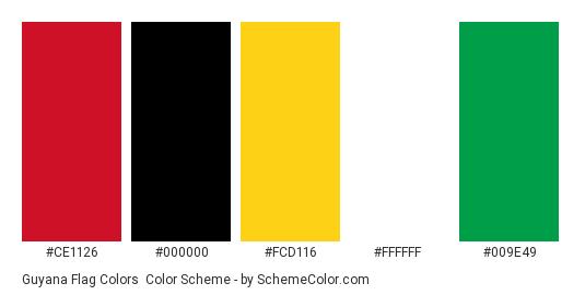 Guyana Flag Colors - Color scheme palette thumbnail - #ce1126 #000000 #fcd116 #ffffff #009e49