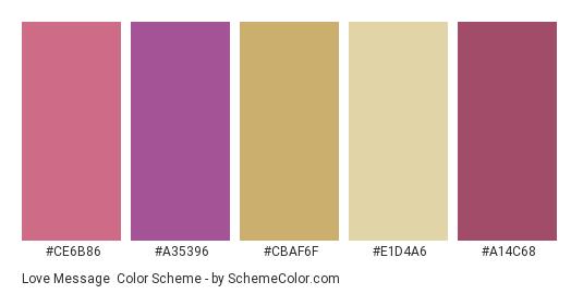 Love Message - Color scheme palette thumbnail - #ce6b86 #a35396 #cbaf6f #e1d4a6 #a14c68
