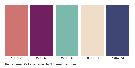 Retro Gamer - Color scheme palette thumbnail - #ce7572 #701F60 #7CB9AD #EFDDC9 #404674